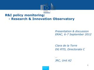 R&I policy monitoring:  - Research & Innovation Observatory