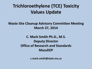 Trichloroethylene (TCE) Timeline
