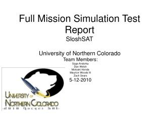 Full Mission Simulation Test Report SloshSAT