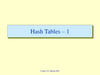 Hash Tables � 1