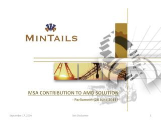 MSA CONTRIBUTION TO AMD SOLUTION - Parliament (28 June 2011)