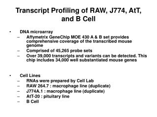 Transcript Profiling of RAW, J774, AtT, and B Cell