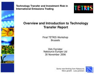 Overview and Introduction to Technology Transfer Report
