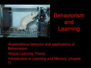 Behaviorism and  Learning