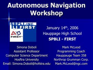 Autonomous Navigation  Workshop