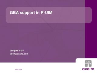 GBA support in R-UIM