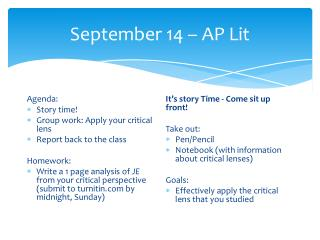 September 14 – AP Lit