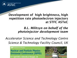 Development of  high brightness, high repetition rate photoelectron injectors at STFC ASTeC