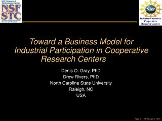 Toward a Business Model for Industrial Participation in Cooperative Research Centers