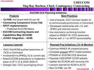 USEUCOM  Maj Ray Barben, Chief, Contingency Contracting