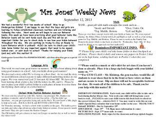 Mrs. Jones' Weekly News September 12, 2013