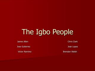 The Igbo People