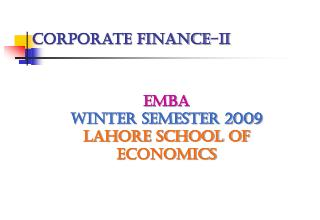 Corporate Finance-II