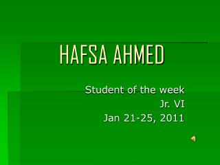 HAFSA AHMED