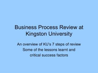 Business Process Review at Kingston University