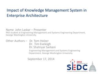 Impact of Knowledge Management System in Enterprise Architecture