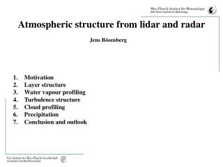 Atmospheric structure from lidar and radar
