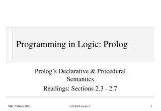 Programming in Logic: Prolog