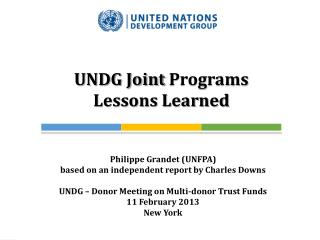 UNDG Joint  Programs Lessons Learned