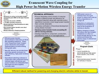 Evanescent Wave Coupling for High Power In-Motion Wireless Energy Transfer