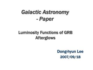 Galactic Astronomy - Paper