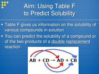 Aim: Using Table F  to Predict Solubility