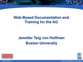 Web-Based Documentation and Training for the AG