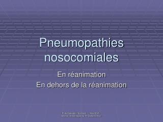 Pneumopathies nosocomiales