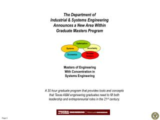 Masters of Engineering  With Concentration in  Systems Engineering