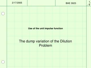 Use of the unit impulse function