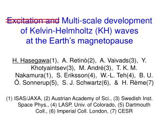 Excitation and Multi-scale development of Kelvin-Helmholtz (KH) waves at the Earth's magnetopause