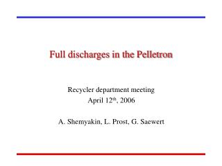 Full discharges in the Pelletron