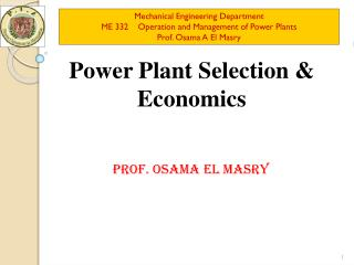 Power Plant Selection & Economics
