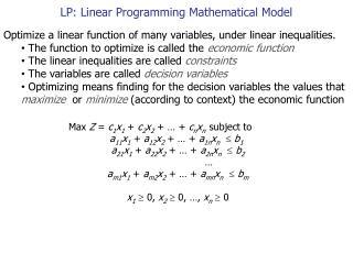 LP: Linear Programming Mathematical Model