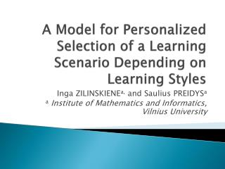 A Model for Personalized Selection of a Learning Scenario Depending on Learning Styles