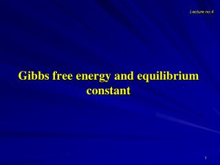 Gibbs free energy and equilibrium constant