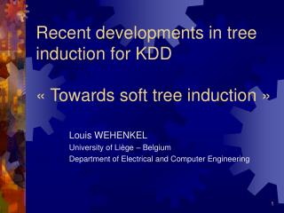 Recent developments in tree induction for KDD «Towards soft tree induction»