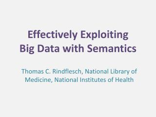 Effectively Exploiting  Big Data with Semantics