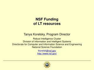 NSF Funding  of LT resources