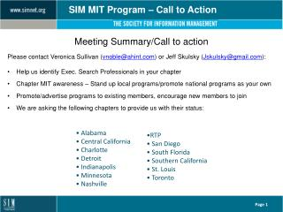 SIM MIT Program � Call to Action