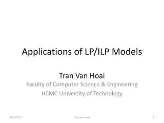 Applications  of LP/ILP  Models