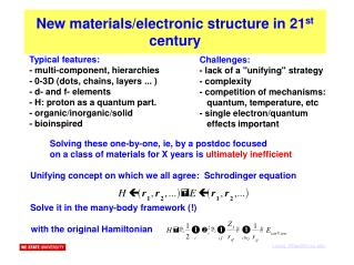 New materials/electronic structure in 21 st  century
