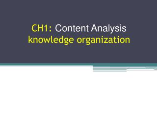 CH1:  Content Analysis knowledge organization