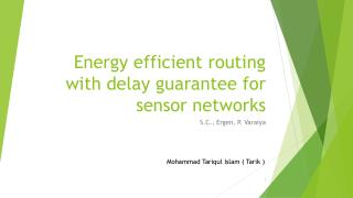 Energy efficient routing with delay guarantee for sensor networks