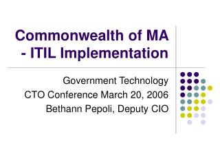 Commonwealth of MA - ITIL Implementation