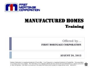 MANUFACTURED HOMES Training
