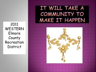 IT WILL TAKE A COMMUNITY TO MAKE IT HAPPEN