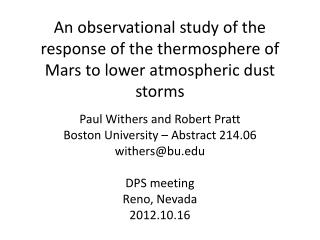 Paul Withers and Robert Pratt Boston University – Abstract 214.06 withers@bu DPS meeting