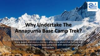 Why Undertake The Annapurna Base Camp Trek?