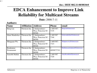 EDCA Enhancement to Improve Link Reliability for Multicast Streams